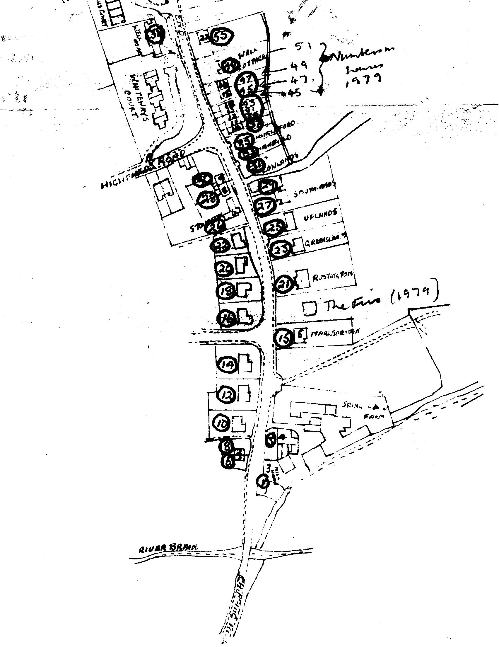 Street re-numbering, Powershall End, 1970. At the top is the western part, whilst at the bottom is the eastern part. The new numbers have dark circles round them.