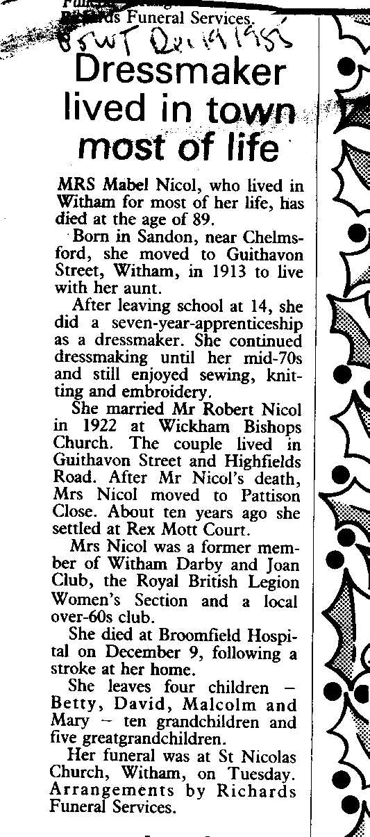 Obituary of Mrs Mabel Nicol, from Braintree and Witham Times, 19 December 1985
