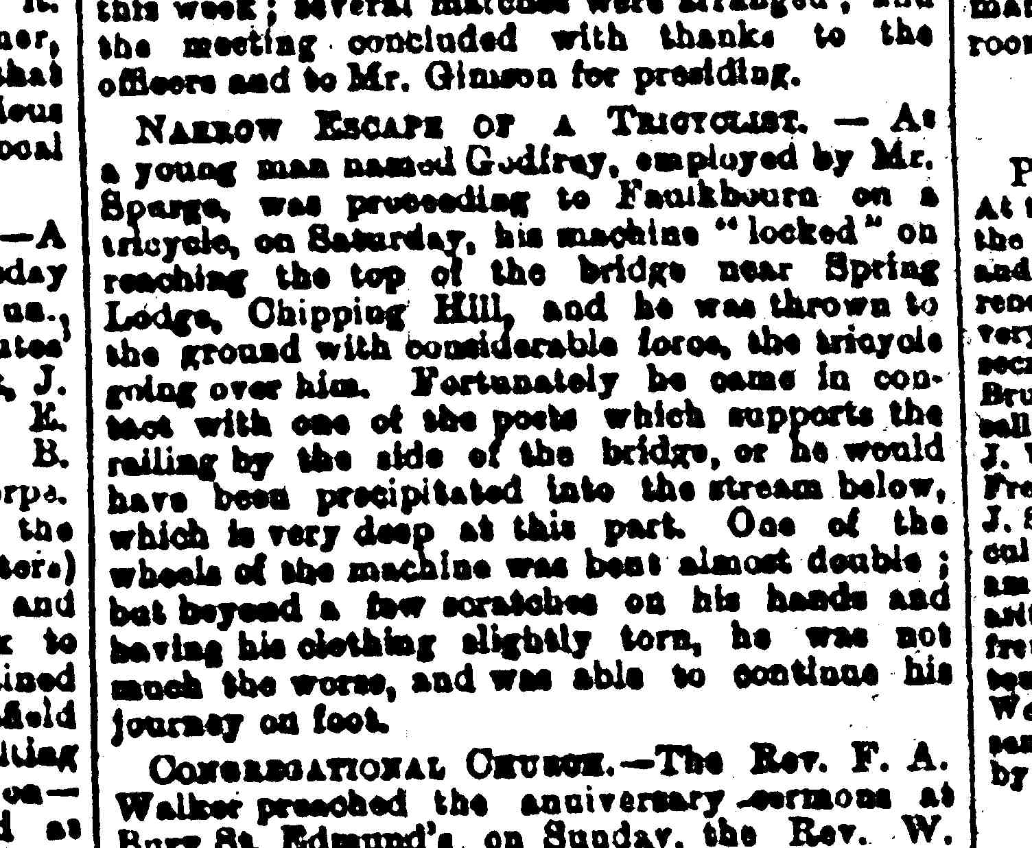 From Essex Weekly News, 14 April 1891