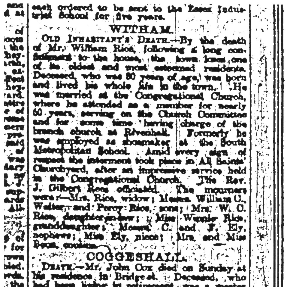 Above. Obituary of William Rice, January 1919. Essex Weekly News