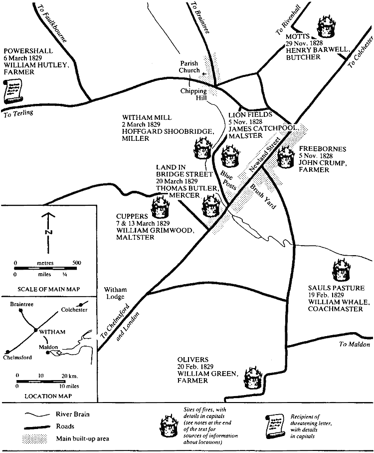 Map showing locations of places mentioned